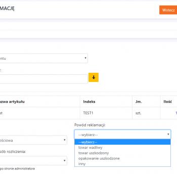 zrzut ekranu z panelu klienta
