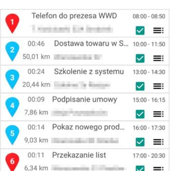trasa w aplikacji